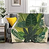 UQCBYEAAPZ Tropical Palm Tree Fern Banana Leaves Botanical Plant Lamb Wool Throw Blanket 50x40 Silver Fox Fur Blanket & Sherpa - Soft, Cozy, Warm - Perfect for Bed, Sofa, Couch