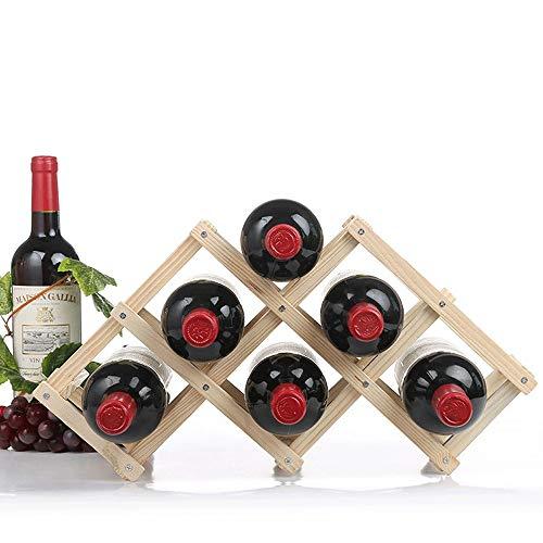 jklj Bastidores de Vino Stand-Alone Tabla de la Barra o mostrador Moderno diseño Minimalista fácil de Montar para el Bar de la casa (Color : Wood, Size : 6 Bottles)