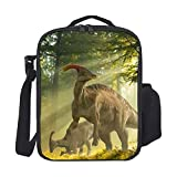 SARA NELL Insulated Lunch Bag Troodon Dinosaur In forest Durable Lunch Box with Shoulder Strap,Leakproof Snacks Cooler bag Tote bag Lunch Bags for Women Men Work School Picnic