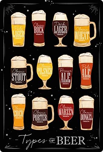 Metalen bord 20x30cm overzicht biersoorten donker voorraad stout porter beer schild