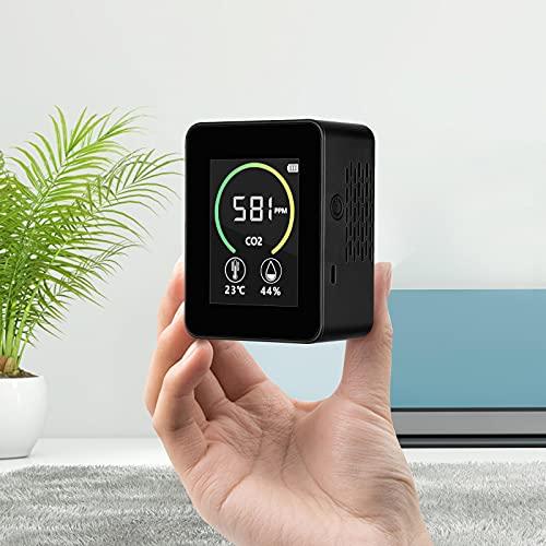 MATHOWAL Medidor de CO2, Detector de calidad del aire Sensor monitor de CO2 analizador de gases con Temperatura Ambiente Humedad y Reloj, Sistema de alarma inteligente, 400-5000PPM, Pantalla LCD