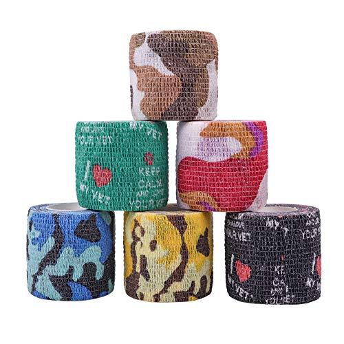 Maotrade 6 Rotoli di Bende Autoadesive in Tessuto non Tessuto Elastiche 5 cm x 4,5 m per Cavalli Cani, Animali, Dita, Polso, Ginocchio, Caviglia e Pro
