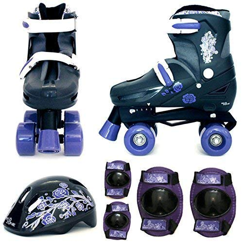 Sk8 Zone By Eurotrade Girls HW218806 Purple Black Sk8 Zone Quad Kids Roller Boots Safety Pads Helmet Childrens Skate Set Medium 13 3 315 345 EU