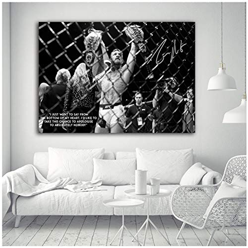UFC Conor McGregor Celebrate with his Two Championship Belt - Lienzo decorativo para pared, 60 x 80 cm, sin marco