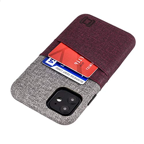 Dockem iPhone 11 Wallet Case: Built-in Metal Plate for Magnetic Mounting & 2 Card Holders (6.1' Luxe M2 Synthetic Leather, Maroon & Grey)