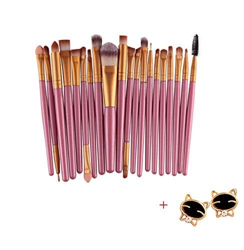 Malloom 20 PC Professionale Contorno Piatto Fard Pennello Cosmetico Rossore Kabuki Strumento Cosmetici Pennello Trucco (Oro)