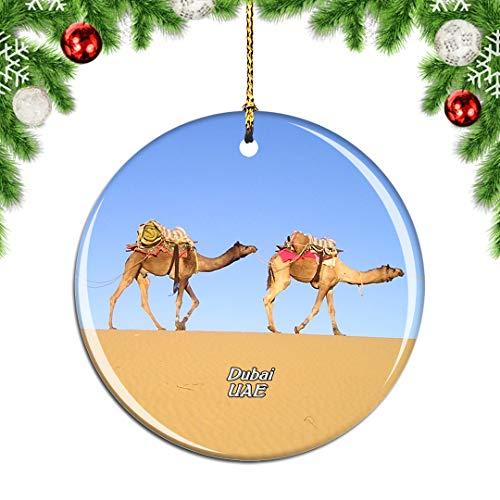 Weekino Emiratos Árabes Unidos Camello del Desierto Dubai Decoración de Navidad Árbol de Navidad Adorno Colgante Ciudad Viaje Colección de Recuerdos Porcelana 2.85 Pulgadas