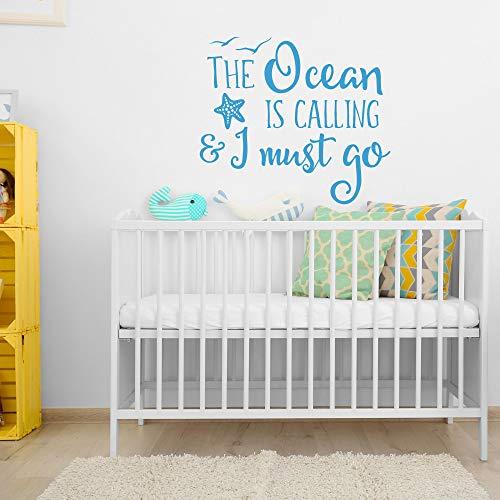 Tamengi Calcomanía de pared The Ocean Is Calling And I Must Go, calcomanía de pared para guardería del océano, cita de guardería náutica, decoración de playa #6 76 cm de ancho