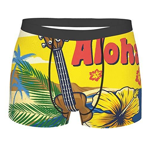 Männerunterwäsche,Aloha Hawaii Ukulele Vintage Style, Boxershorts Atmungsaktive Komfortunterhose Größe XXL