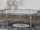 SIMONE GUARRACINO LUXURY DESIGN Table Basse de Salon Isabelle Style Baroque Moderne Feuille Argent marbre Blanc Carrara