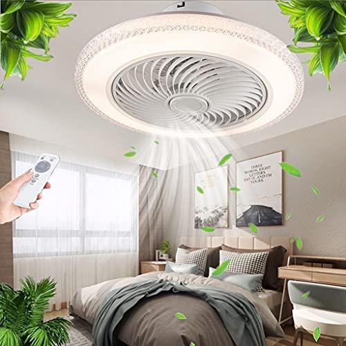 Ventilador LED Luz de techo moderno regulable con iluminación Cristal invisible Sala estar Dormitorio Lámpara de techo Control remoto Ventilador ultra silencioso Comedor Habitación para niños