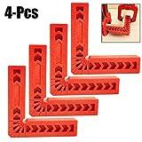Outgeek Gradi di Posizionamento Quadrati, 4PCS 4 '' Piastre di Posizionamento da 90 Gradi Pratiche Piastre di Serraggio Strumenti di Posizionamento per la Lavorazione del Legno