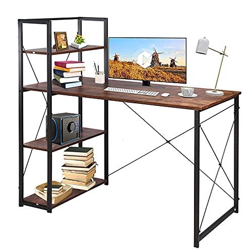 LNHJZ Mesa Ordenador, 120 cm Largo, con baldas a Izquierda o Derecha, Estable, la Oficina en casa, Estilo Industrial, rústico marrón y Negro