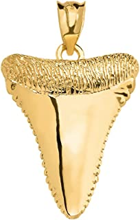 Shark Tooth Lucky Charm Pendant in Polished 14k Yellow Gold