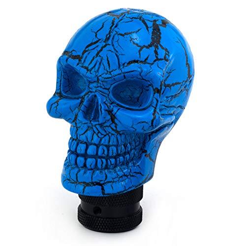 Thruifo Skull MT Car Stick Shifter, Small Teeth Devil Head Style Gear Shift Knob Fit Most Manual Automatic Vehicles, Blue Pattern
