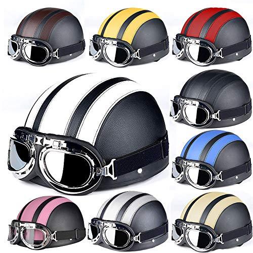 Unbekannt GRL Offener Motorradhelm mit Schutzbrille, Jethelm, Bobber-Halbschalen, Chopper-Motorradhelm, Retro-Rollerhelm für Roller oder Moped,Red
