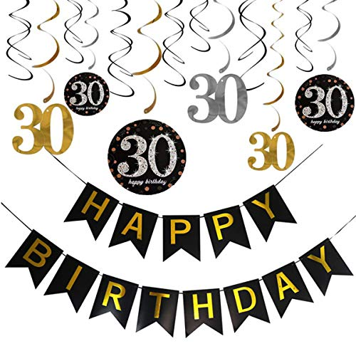 Black Gold Happy Birthday Banner Bunting Hanging Swirls Number 30 Letters Banner Garland Sparkle Thirty 30th Birthday Party Decoration Supplies YiCTe