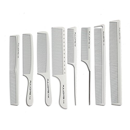 Pro pettine di carbonio del parrucchiere in colore bianco Il pettine da taglio dei capelli resistenti al caldo popolare è impostato in 8 set di abbigliamento preferito del barbiere