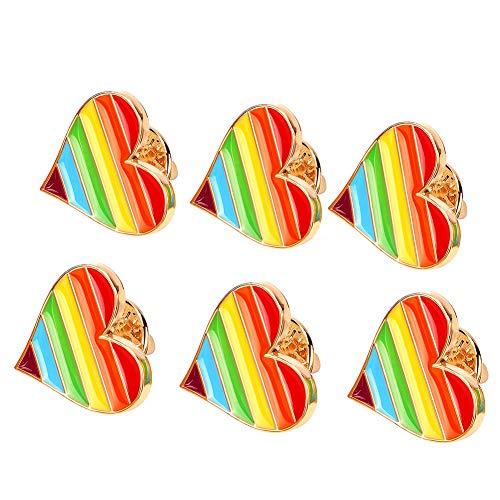Tacobear 6 Stücke LGBT Gay Pride Regenbogen Pin Badge Regenbogen Liebe Herz Anstecknadel Gay Pride Schmuck für Kleidung Shirt Jacken Mäntel Krawatte Hüte Kappen Taschen Rucksäcke