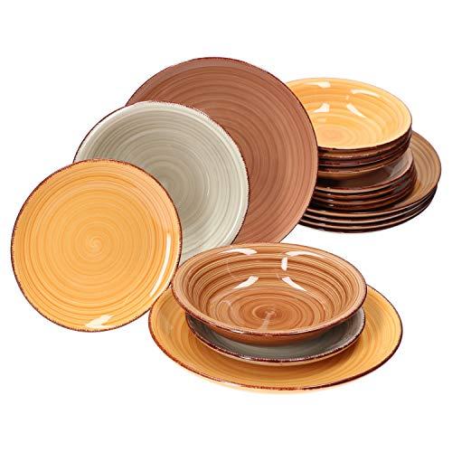 MamboCat 18tlg. Teller-Set Sandy für 6 Personen I Speiseteller + Suppenteller + Kuchenteller I edles Porzellan-Geschirr I 6 Farben