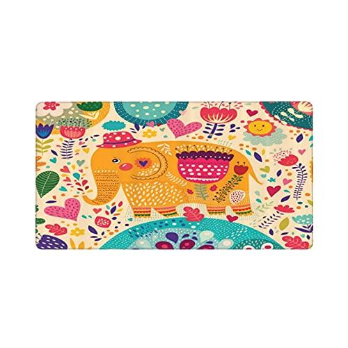 Alfombrilla de ratón Grande para Juegos,Elefante con patrón de Colores Arte Infantil Sombreros Flores Plantas Hojas,Base de Goma Antideslizante,Adecuada para Jugadores,PC y portátil(80 x 30cm)