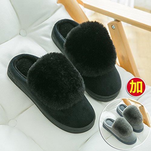 Chaussons en coton home intérieur amoureux les hommes et les femmes de la base de plein paquet épais avec doublure en chaussons chaussures de l'hiver, 2 Mâle Double 42/43, Noir + Gris foncé