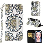 Case for Galaxy A7 (2018)/A750,Slim Flip 3D Printing Kickstand Wallet Case Card Slots Inner Soft Bumper with Magnetic Closure & Wrist Strap Compatible with Samsung Galaxy A7 (2018)/A750 -Sun Flower