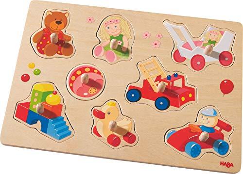 HABA 301963 - Greifpuzzle Meine ersten Spielzeuge   Holzspielzeug ab 12 Monaten   8-teiliges Puzzle aus Holz mit bunten Spielzeugmotiven   Mit großen Knöpfen zum Greifen