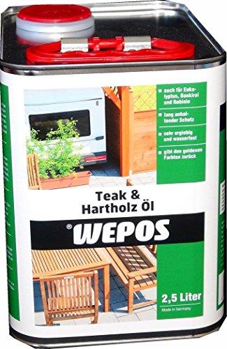 Wepos 2000304501 Teak und Hartholz Öl 2,5 L