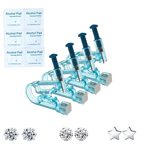 Kit de pistola de perforación de oreja desechable, paquete de 4 herramientas de unidad de pistola de perforación de oreja estéril de seguridad desechable, juego de perforación de asepsia de oreja