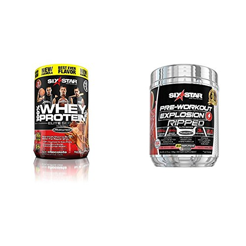 Six Star Pro Protein Plus, 32g Ultra-Pure Whey Protein Powder, Triple Chocolate, 2 Pound and Explosion Ripped Pre Workout Thermogenic, Preworkout Energy, 33 Servings