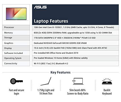 ASUS VivoBook 15 Intel Core i5-1035G1 10th Gen 15.6-inch FHD Thin and Light Laptop (8GB RAM/1TB HDD + 256GB SSD/Windows 10/MS Office 2019/2GB NVIDIA MX330 Graphics/Grey/1.75 kg), X512JP-EJ233TS