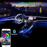 TABEN Car Ambient Light RGB App Control Lámpara de luz Decorativa DIY Reajuste Tubo de Fibra óptica Flexible 64 Colores Iluminación Interior Atmósfera Luz 1W DC 12V 3m