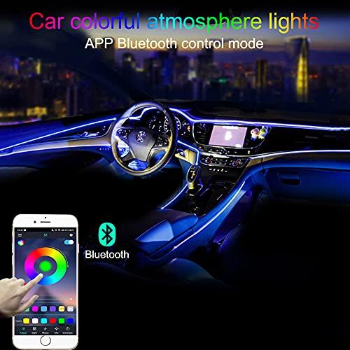 TABEN Luce Ambientale per Auto RGB Controllo App Lampada Decorativa Lampada Fai da Te Refit Tubo in Fibra Ottica Flessibile 64 Colori Illuminazione Interna Atmosfera Luce 1W DC 12V 3m