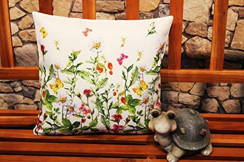 Kamaca Serie WIESENBLUMEN UND Schmetterlinge hochwertiges Druck-Motiv mit Blumen EIN Eyecatcher in Frühling Sommer (Kissenhülle 40x40 cm)