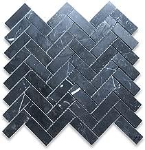 Nero Marquina Black Marble Herringbone Mosaic Tile 1 x 3 Polished