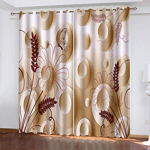 WLHRJ blackout curtains for bedroom living rooms kids kitchen window 3D Digital printing curtains eyelet - 55x39 inch - Abstract butterfly flower pattern