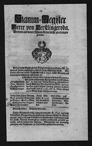 Kerstlingerode Kralach Hörselgau Stammbaum Ahnentafel Wappen coat of arms