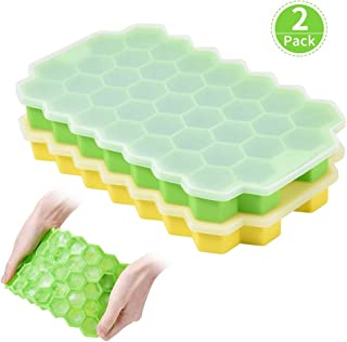 Ice Cube Trays with Non-Spill Lid (2 Packs) Silicone Shapes Ice Cube Molds, BPA Free Ice Tray Used for Freezer Baby Foods Whiskey Cocktail Chilled Drinks, Stackable Flexible Green&Yellow