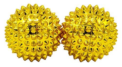 2 magentische Akupressurkugeln in gold klein, Durchmesser 32 mm