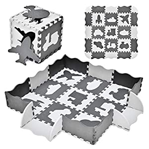 """FUN LITTLE TOYS 25PCs Baby Play Mat with Fence Including 9 Different Vehicle Styles, Thick (0.47"""") Interlocking Foam Floor Tiles, Kids Room Decor Large Mat"""