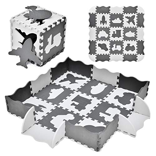 FUN LITTLE TOYS 25PCs Baby Play Mat with Fence Including 9 Different Vehicle Styles Thick 047quot Interlocking Foam Floor Tiles Kids Room Decor Large Mat