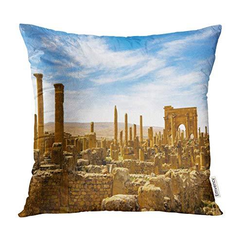 Timgad Roman Berber City in The Aures Mountains of Algeria Colonia Marciana Ulpia Pillowcase Cushion Cover Case Protectors Sofa 18x18 Inches