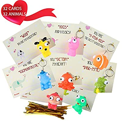 MOMONI Premium 32 Piece Valentines Day Card for Kids With Squeezable Pop-Eye Animal Keychain- Perfect for Valentines Day Gifts for Kids, Class Valentine Gifts, Valentine Gifts for Class, Classroom Exchange Favor