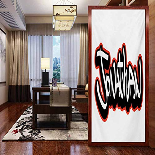 Home Office Film Non-Adhesive Window Stickers Glass, Jonathan Teenage Boys Name Graffito Urban Arts Illustra, Privacy Glass Film for Home &Office, W17.7xH35.4 Inch