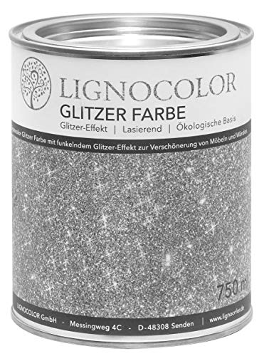 Lignocolor Glitzer Farbe (750 ml, Silber) Möbel und Wände in Glitter Optik, Effektfarbe Glitzereffekt, nicht deckend (transparent)– Made in Deutschland