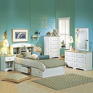 South Shore Newbury Kids White Twin Wood Captainu0027s Bed 4 Piece Bedroom Set
