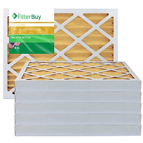 FilterBuy 16x20x2 Air Filter MERV 11, Pleated HVAC AC Furnace Filters (6-Pack, Gold)