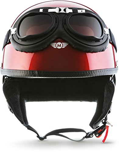 "Moto Helmets® D22-Set ""Red"" · Brain-Cap · Halbschale Jet-Helm Motorrad-Helm Roller-Helm Scooter-Helm Bobber Mofa-Helm Chopper Retro Cruiser Vintage Pilot Biker Helmet Brille Visier · L (59-60cm)"