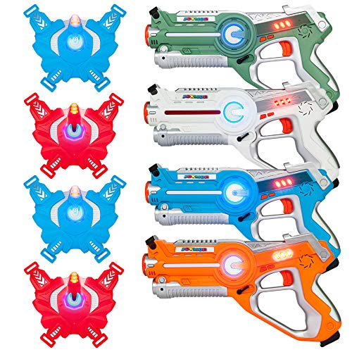 JOYMOR Infrared Laser Tag Guns Set of 4 Blasters and Vests,Multiplayer Mode,Best Toy for Boys Girls Indoor Outdoor Activity-0.9mW (Style A)